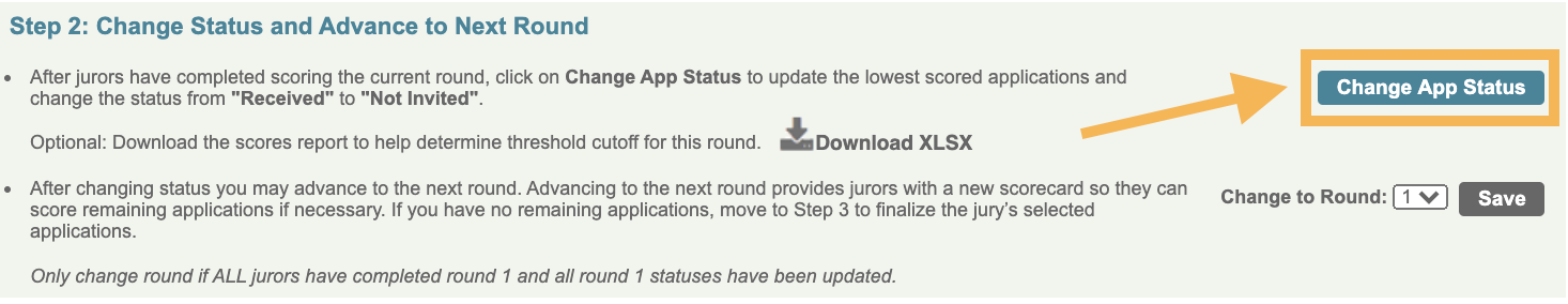 Screenshot of the step 2 on the jury admin page with a box around the button Change App Status