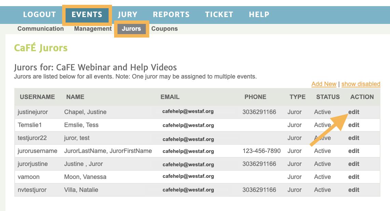 Screenshot of the list of jurors