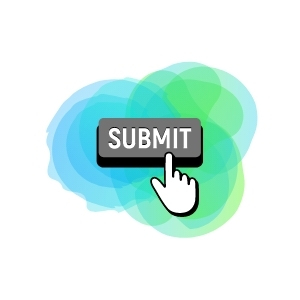 Green and blue background with a gray submit button and hand pushing the button.
