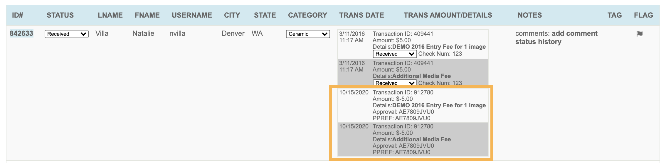 Screenshot of the application table on the artist side with the refund transaction details highlighted.