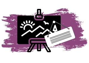 Purple background with canvas in front with a label.