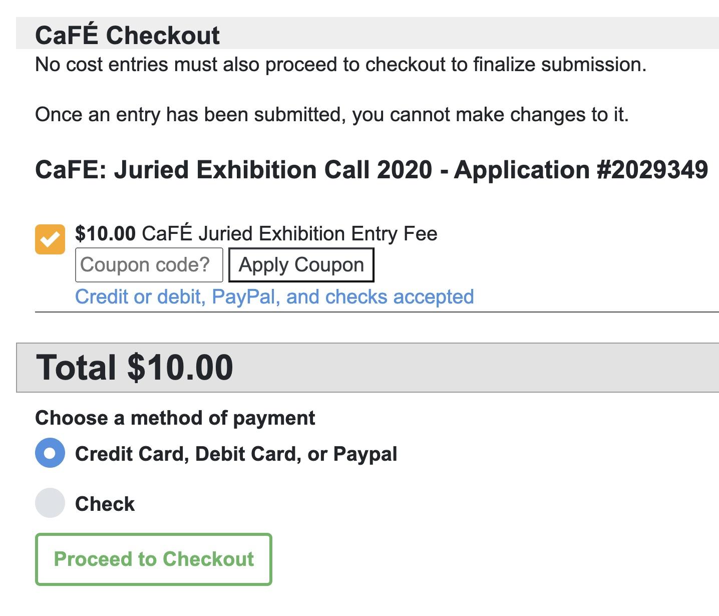 screenshot of checkout process on cafe