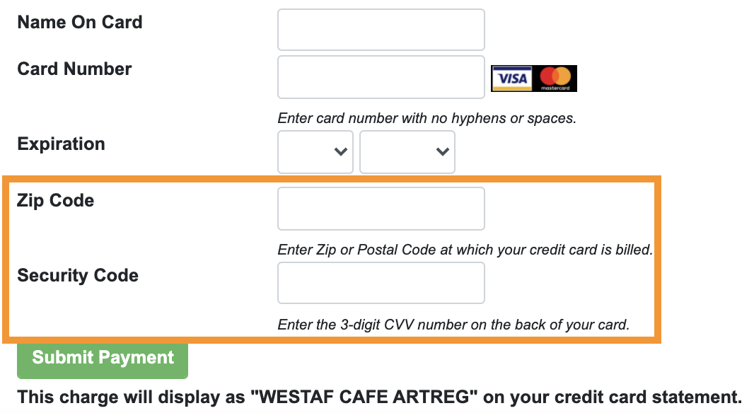 Screenshot of the checkout with a box around the ZIP Code and CVV sections.