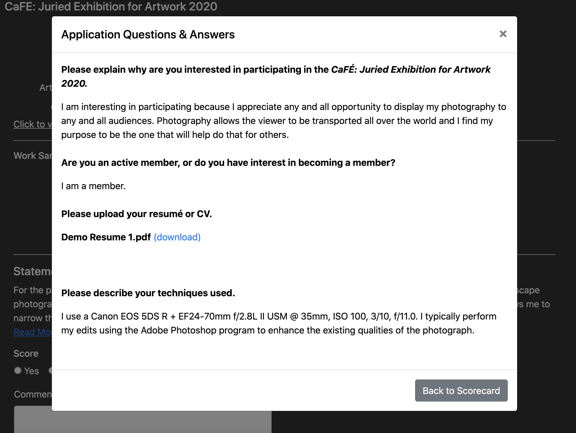 Screenshot of the window where you can see all application answers on the jury scorecard.