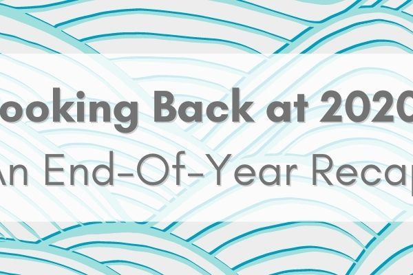 Light blue background with swirls and text that reads: Looking Back at 2020: An End of Year Recap