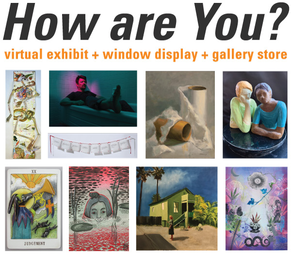 A collage of artwork including painting, ceramics, photography with text that reads,