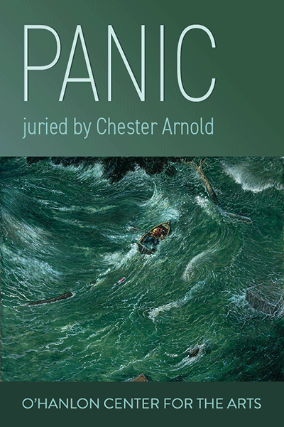 A painting dispalying a thrashing sea with a both in the center. Text reads: PANIC juried by Chester Arnold O'Hanlon Center for the Arts