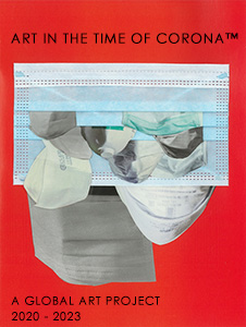 Layers of medical masks on top of a red background with text that reads