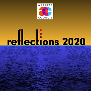 Reflections logo with blue and yellow background.
