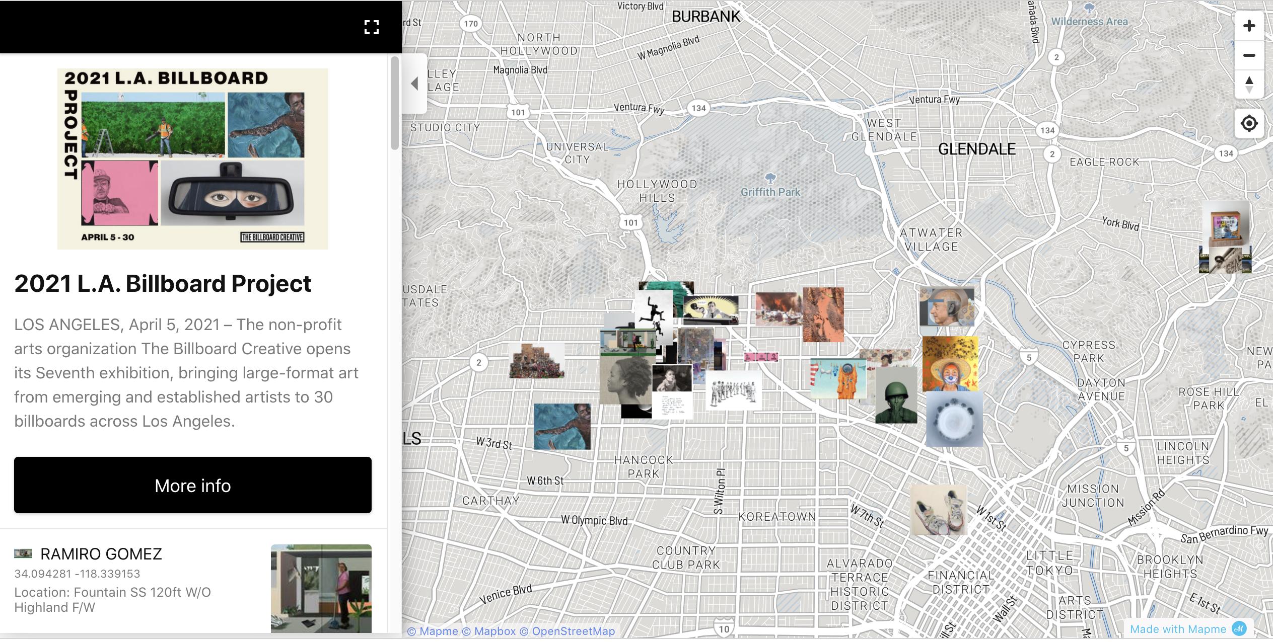 Screenshot of the interactive map on the Billboard Creative call.