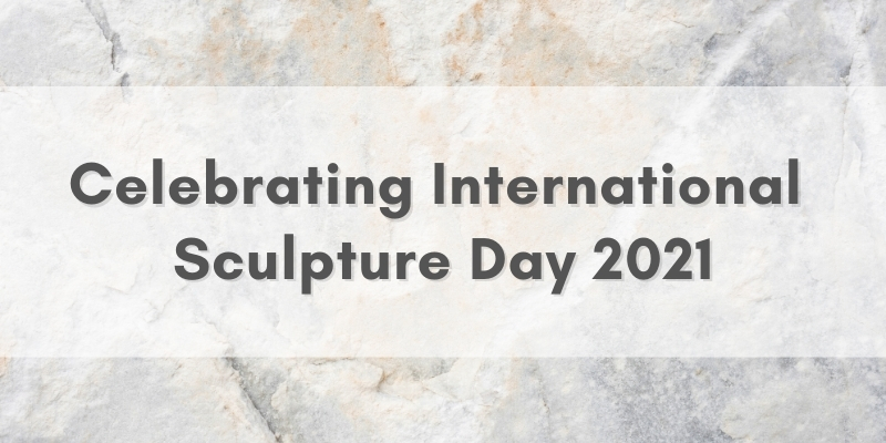 "Abstract background with text that reads ""celebrating international sculpture day 2021"""