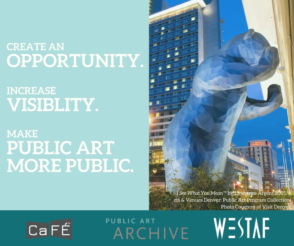 Blue bear peaking in convention center with text that says Create an opportunity, increase visibility, make public art more public