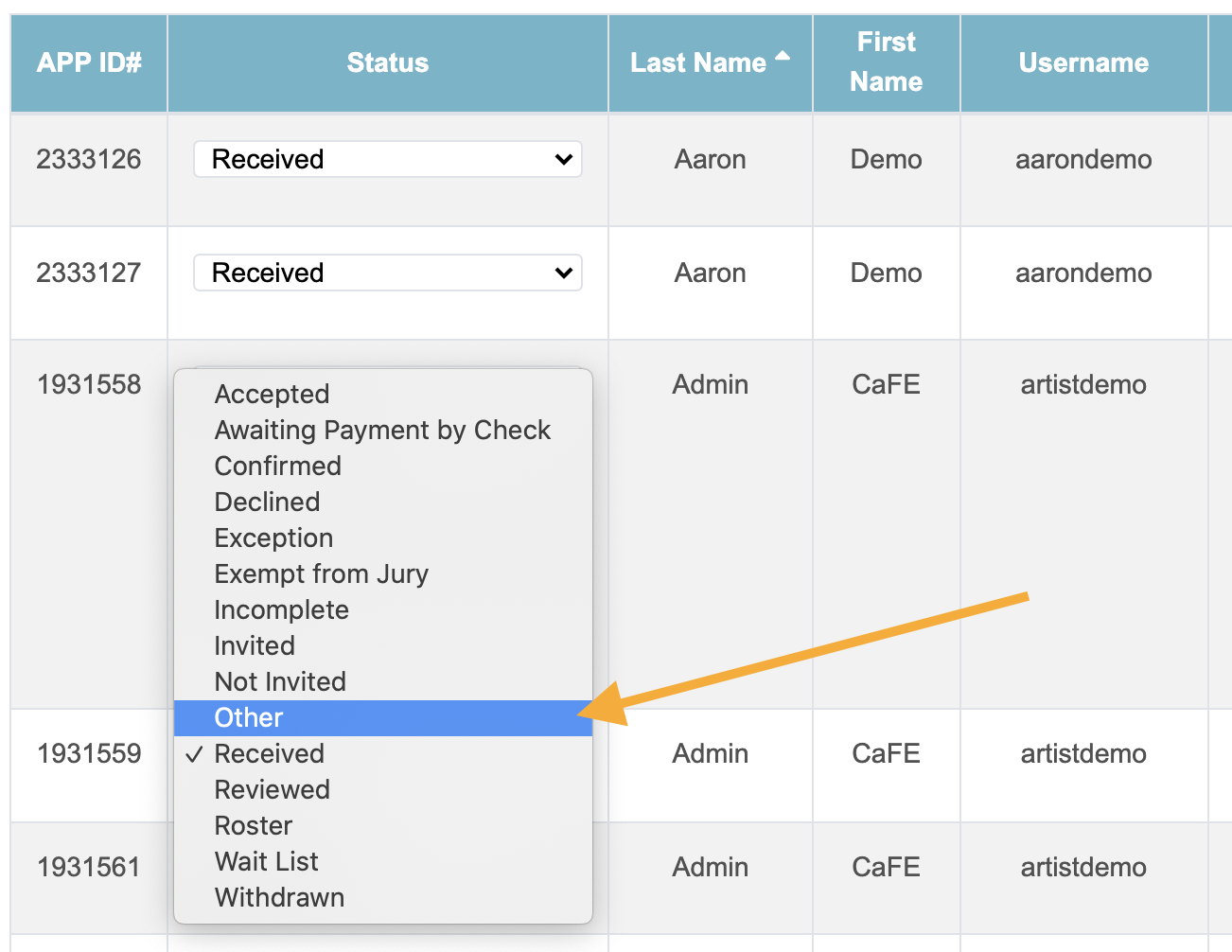 Screenshot of the applications list with an arrow pointing to the Change Status dropdown menu