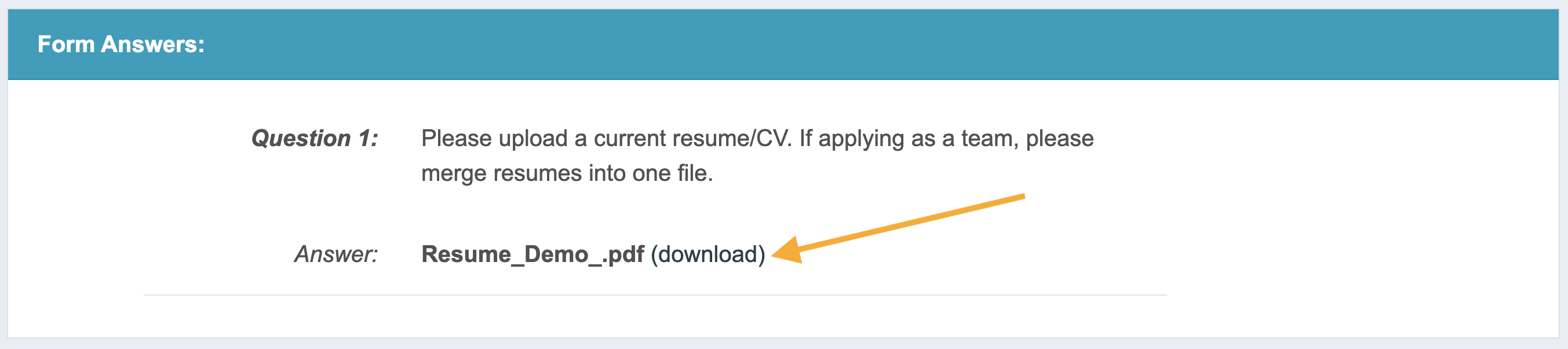 Screenshot of the Form Answers section of the artist application with an arrow pointing to the file download link.