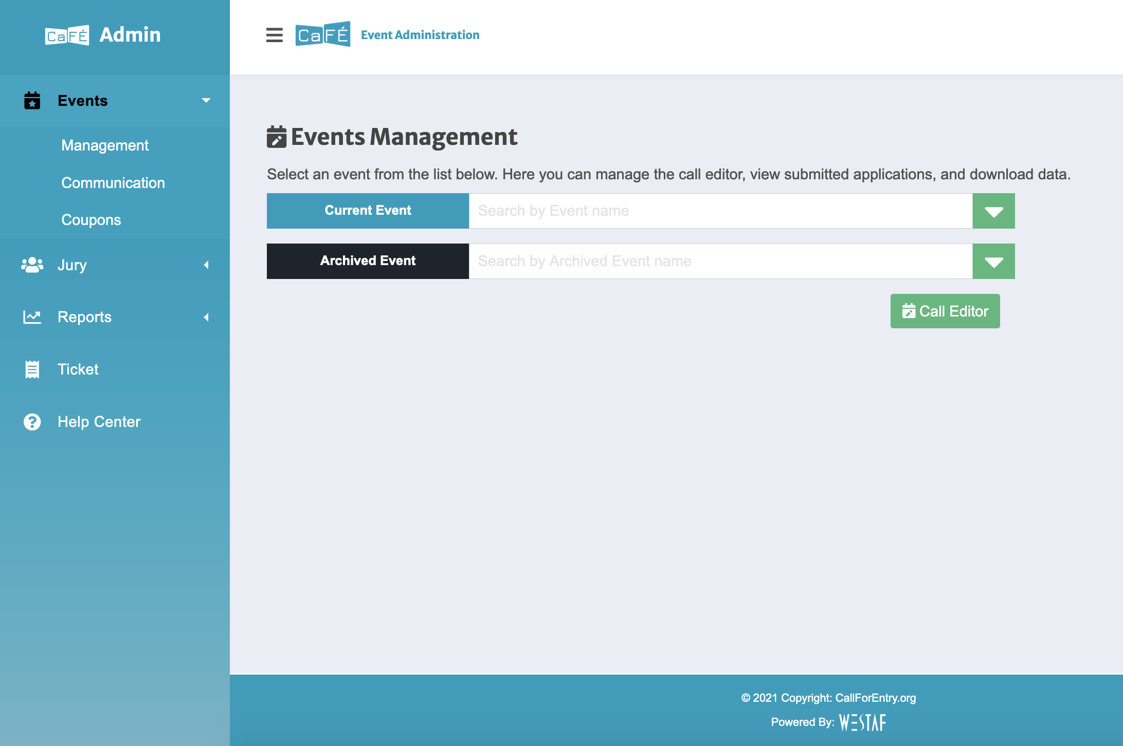 Screenshot of the new events management page, with a blue menu to one side and two drop down boxes in the center.