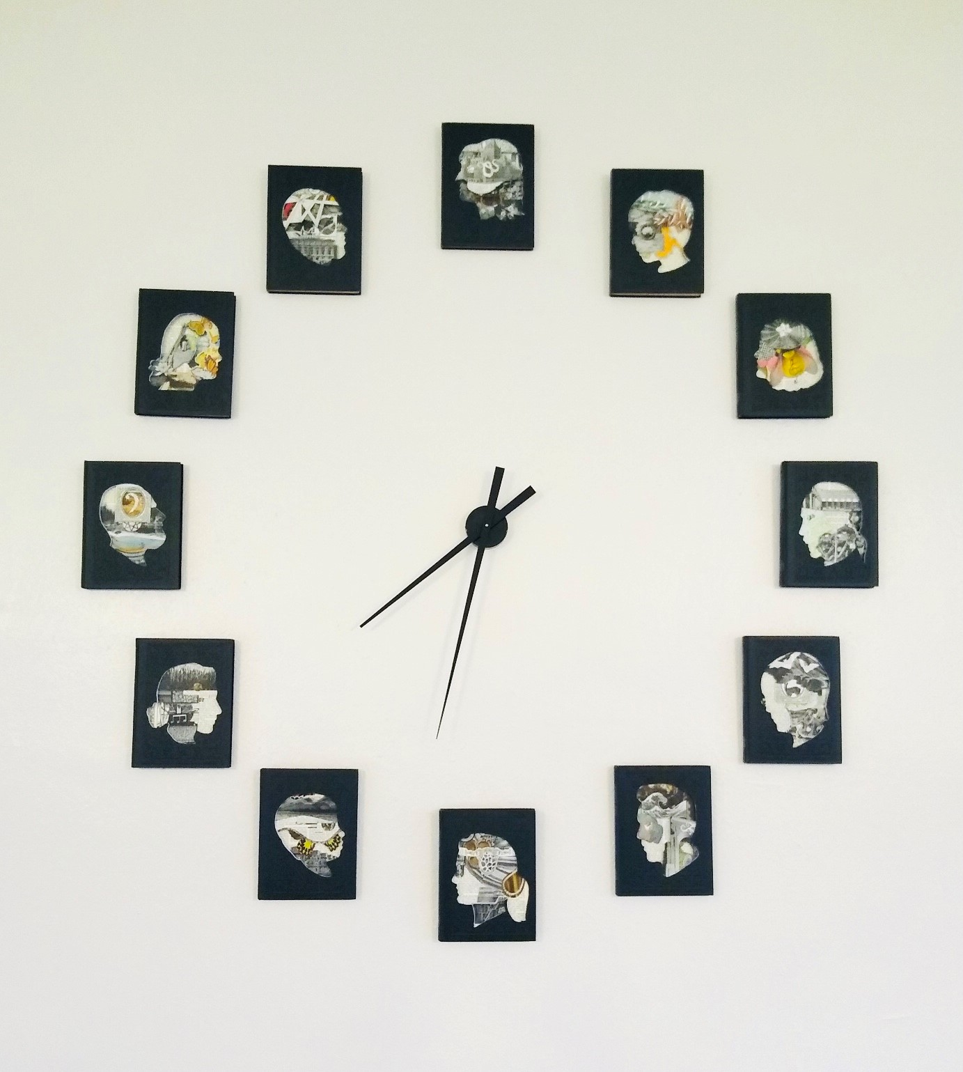 A wall clock made up of various images.